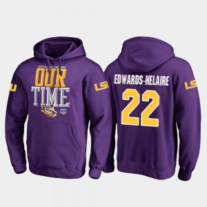 Men's #22 Clyde Edwards-Helaire Tigers Hoodie 2019 Fiesta Bowl Bound Fanatics Branded Counter Purple