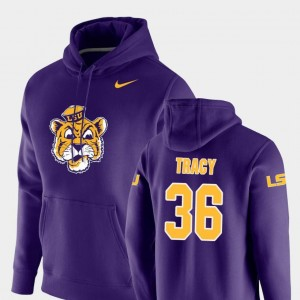 Nike Pullover Vault Logo Club For Men's Cole Tracy Louisiana State Tigers Hoodie #36 Purple