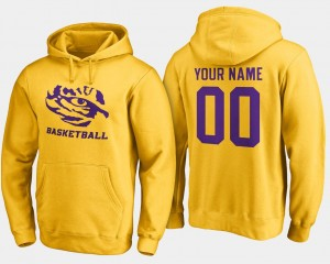 Name and Number Basketball LSU Customized Hoodies #00 Gold For Men's