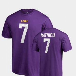 #7 For Men College Legends Purple Tyrann Mathieu Tigers T-Shirt Name & Number