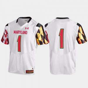 Under Armour For Men Replica White Maryland Terrapins Jersey #1