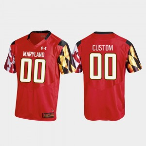 Red Men's College Football #00 Replica Under Armour Maryland Customized Jersey
