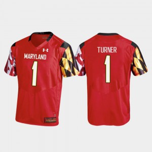 Mens DJ Turner University of Maryland Jersey College Football Replica Under Armour Red #1