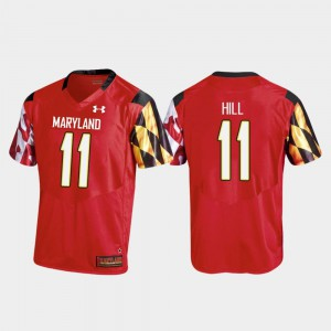 Kasim Hill Maryland Jersey Red For Men College Football #11 Replica Under Armour