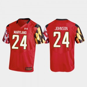 #24 College Football Replica Under Armour Men's Ty Johnson University of Maryland Jersey Red