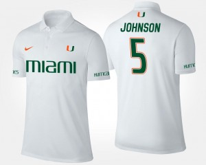 #5 Andre Johnson University of Miami Polo Name and Number For Men White
