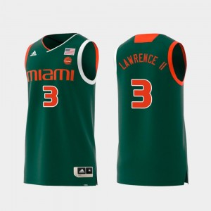 #3 Replica Anthony Lawrence II Miami Jersey Green Swingman College Basketball For Men