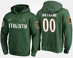 #00 Name and Number Mens Miami Hurricanes Customized Hoodies Green