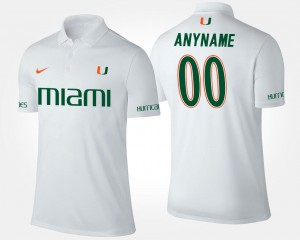 Miami Hurricanes Custom Polo White Name and Number #00 For Men