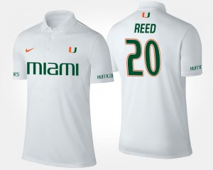 White Name and Number Ed Reed University of Miami Polo Mens #20