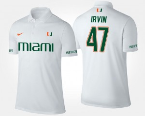 Name and Number White #47 Michael Irvin Miami Polo For Men's