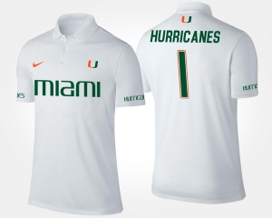 No.1 Short Sleeve #1 Men White Name and Number University of Miami Polo