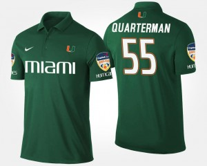 Bowl Game #55 Orange Bowl Name and Number For Men's Shaquille Quarterman Hurricanes Polo Green