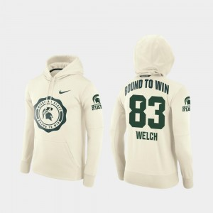 For Men's Cream Andre Welch Michigan State Hoodie #83 Rival Therma College Football Pullover