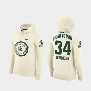 Cream For Men's #34 Antjuan Simmons Michigan State Spartans Hoodie College Football Pullover Rival Therma