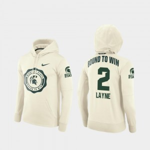 For Men's #2 Justin Layne Michigan State Spartans Hoodie College Football Pullover Rival Therma Cream