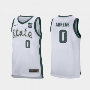 #0 White Retro Performance Kyle Ahrens Michigan State Spartans Jersey For Men's 2019 Final-Four