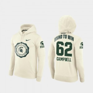 Cream College Football Pullover Luke Campbell MSU Hoodie Rival Therma For Men's #62