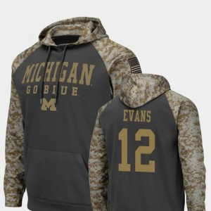 #12 United We Stand Chris Evans Michigan Hoodie Colosseum Football Men Charcoal