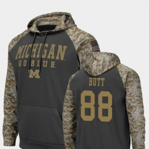 United We Stand Jake Butt University of Michigan Hoodie Mens Charcoal #88 Colosseum Football