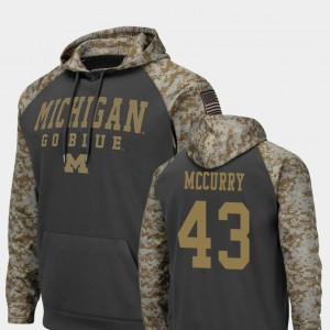 United We Stand Charcoal Jake McCurry Michigan Hoodie #43 Mens Colosseum Football