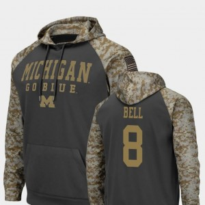 Colosseum Football Charcoal #8 Ronnie Bell University of Michigan Hoodie United We Stand For Men's