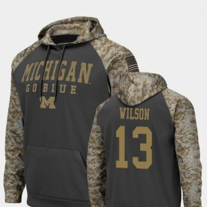 #13 Colosseum Football Tru Wilson Michigan Wolverines Hoodie For Men United We Stand Charcoal