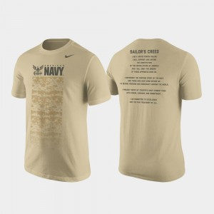 Military Creed Men's Tan Nike Cotton United States Naval Academy T-Shirt