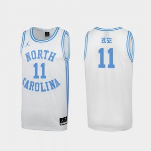 Men March Madness Special College Basketball White #11 Shea Rush Tar Heels Jersey
