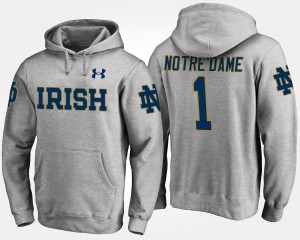 No.1 #1 Gray UND Hoodie For Men Name and Number