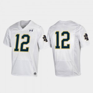 White #12 Men's College Football Under Armour Replica Notre Dame Jersey