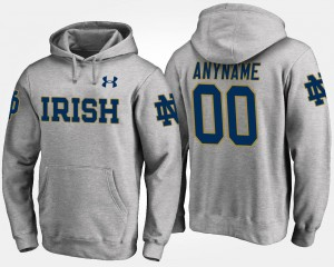 Name and Number Notre Dame Fighting Irish Customized Hoodies Gray For Men's #00