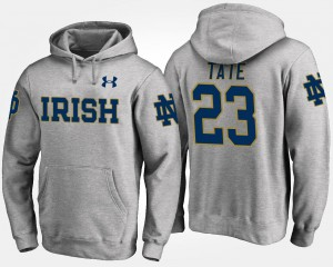 Golden Tate Irish Hoodie For Men Name and Number #23 Gray
