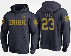 #23 Navy Golden Tate University of Notre Dame Hoodie For Men Name and Number
