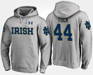 #44 Gray For Men's Justin Tuck UND Hoodie Name and Number