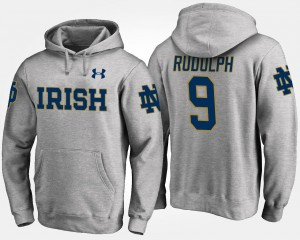 Gray #9 For Men Name and Number Kyle Rudolph Notre Dame Fighting Irish Hoodie