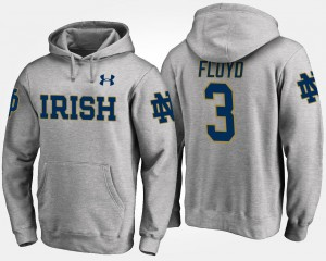 #3 Name and Number Gray For Men Michael Floyd Fighting Irish Hoodie