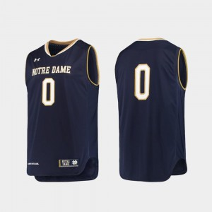 Notre Dame Fighting Irish Jersey Mens Replica Under Armour #0 Navy College Basketball