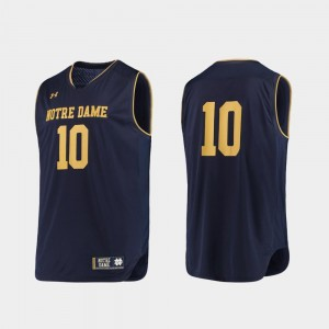 Notre Dame Fighting Irish Jersey College Basketball Men's Navy Gold #10 Authentic Under Armour