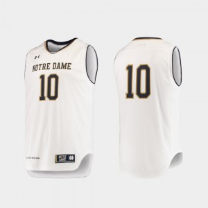 White Authentic Under Armour College Basketball Men #10 University of Notre Dame Jersey