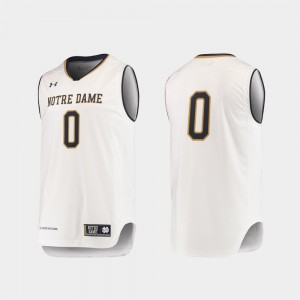 #0 College Basketball Replica Under Armour For Men White Notre Dame Fighting Irish Jersey