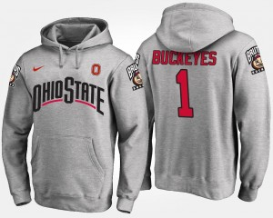 #1 For Men Name and Number No.1 Gray Ohio State Hoodie