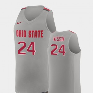 For Men #24 Andre Wesson OSU Buckeyes Jersey Pure Gray College Basketball Replica