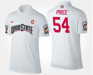 Name and Number Men #54 White Billy Price Ohio State Buckeyes Polo