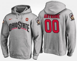 For Men's Gray #00 OSU Custom Hoodies Name and Number