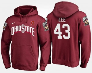 Name and Number #43 Darron Lee Ohio State Hoodie For Men Scarlet