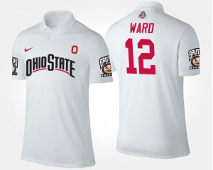 Denzel Ward OSU Buckeyes Polo #12 White For Men Name and Number