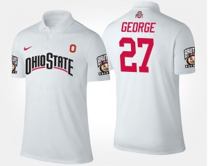 For Men #27 White Name and Number Eddie George OSU Buckeyes Polo