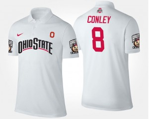 Name and Number For Men White Gareon Conley OSU Buckeyes Polo #8