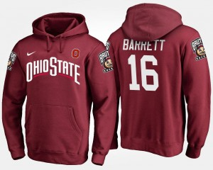 Scarlet For Men's Name and Number #16 J.T. Barrett Ohio State Hoodie